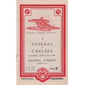 ARSENAL V CHELSEA 1947-48 FOOTBALL PROGRAMME (championship season)