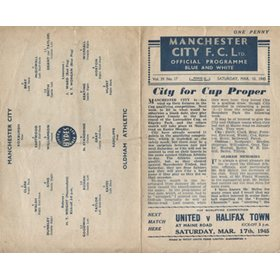 MANCHESTER CITY V OLDHAM ATHLETIC 1944-45 FOOTBALL PROGRAMME