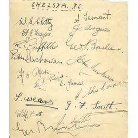 CHELSEA - LATE 1930S SIGNED ALBUM PAGE