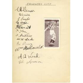 COVENTRY CITY - LATE 1930S SIGNED ALBUM PAGE