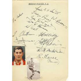 BRENTFORD - LATE 1930S SIGNED ALBUM PAGE