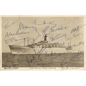 ENGLAND 1954-55 SIGNED POSTCARD - ASHES CRICKET TOUR
