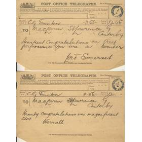 ARCHIE  MACLAREN TELEGRAMS 1897 (AFTER SCORING 244 V KENT)