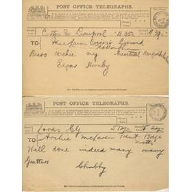 ARCHIE MACLAREN TELEGRAMS 1905 (HIGHEST TEST SCORE OF 140) - ENGLAND V AUSTRALIA  AT TRENT BRIDGE