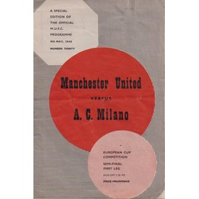 MANCHESTER UNITED V A.C. MILAN 1958 (EUROPEAN CUP SEMI-FINAL) FOOTBALL PROGRAMME