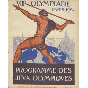 PARIS OLYMPICS 1924 DAILY PROGRAMME 9TH JULY