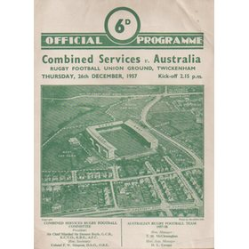 COMBINED SERVICES V AUSTRALIA 1957 RUGBY PROGRAMME