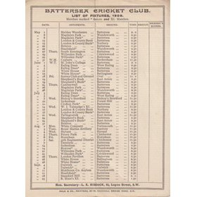 BATTERSEA CRICKET CLUB 1909 FIXTURE CARD