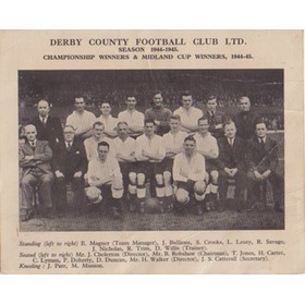 DERBY COUNTY 1944-45 CARD (PRINTED FOR 1946 FA CUP SEMI-FINAL)