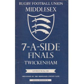 MIDDLESEX SEVENS 1981 SIGNED RUGBY PROGRAMME
