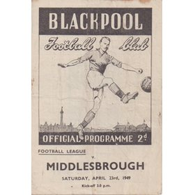 BLACKPOOL V MIDDLESBROUGH 1949 FOOTBALL PROGRAMME