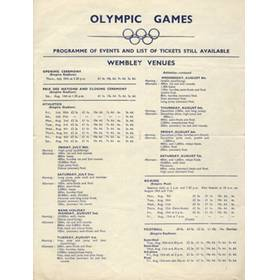 LONDON OLYMPICS 1948 (PROGRAMME OF EVENTS)