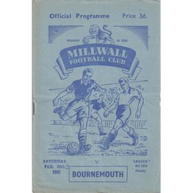 MILLWALL V BOURNEMOUTH 1955 FOOTBALL PROGRAMME