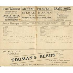 ESSEX V GLAMORGAN 1937 CRICKET SCORECARD
