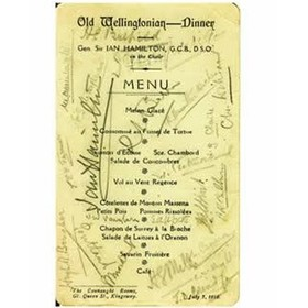 CAMBRIDGE OLD WELLINGTONIANS 1919 SIGNED MENU