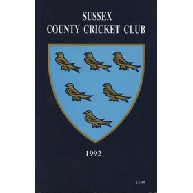 SUSSEX COUNTY CRICKET CLUB HANDBOOK 1992