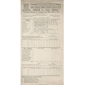 ESSEX V ALL INDIA 1932 CRICKET SCORECARD
