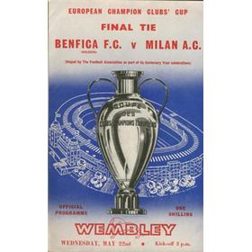 BENFICA V AC MILAN 1963 (EUROPEAN CUP FINAL) FOOTBALL PROGRAMME