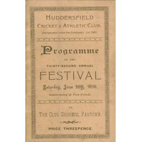 HUDDERSFIELD CRICKET AND ATHLETIC CLUB PROGRAMME 1896