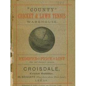 CRICKET CATALOGUE (J CROISDALE, LEEDS) 1881