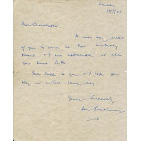 DON BRADMAN 1948 (JUST AFTER HIS LAST TEST MATCH) HANDWRITTEN LETTER