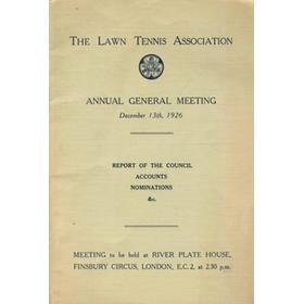 THE LAWN TENNIS ASSOCIATION ANNUAL GENERAL MEETING 1926