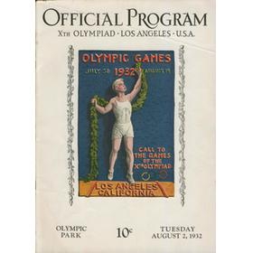 LOS ANGELES OLYMPICS 1932 - 2ND AUGUST OFFICIAL PROGRAM