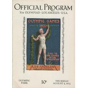 LOS ANGELES OLYMPICS 1932 - 4TH AUGUST