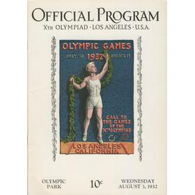 LOS ANGELES OLYMPICS 1932 - 3RD AUGUST OFFICIAL PROGRAM