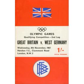 GREAT BRITAIN V WEST GERMANY OLYMPIC QUALIFIER AMATEUR INTERNATIONAL 1967 FOOTBALL PROGRAMME