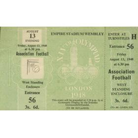 SWEDEN V YUGOSLAVIA 1948 (OLYMPIC FOOTBALL FINAL TICKET) - UNUSED
