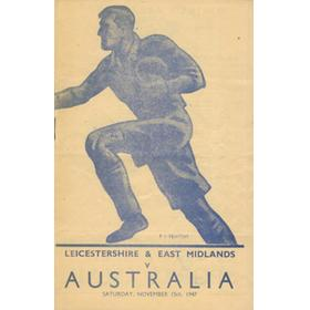 LEICESTERSHIRE & EAST MIDLANDS V AUSTRALIA 1947 RUGBY PROGRAMME