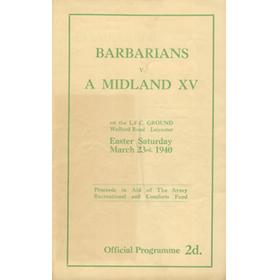 BARBARIANS V A MIDLAND XV 1940 RUGBY PROGRAMME