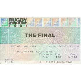 ENGLAND V AUSTRALIA 1991 (WORLD CUP FINAL) RUGBY TICKET