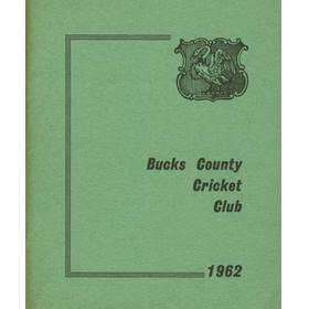 BUCKS COUNTY CRICKET CLUB 1962 OFFICIAL HANDBOOK