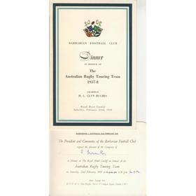 BARBARIANS V AUSTRALIA 1958 RUGBY MENU & INVITATION