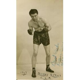 BENNY EVANS (USA) SIGNED BOXING PHOTOGRAPH 1948