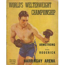 HENRY ARMSTRONG V ERNIE RODERICK 1939 BOXING PROGRAMME