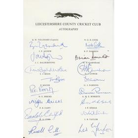 LEICESTERSHIRE EARLY 1980S AUTOGRAPH SHEET