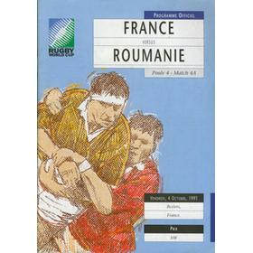 FRANCE V ROMANIA, RUGBY WORLD CUP 1991 rugby programme