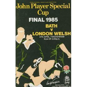 BATH V LONDON WELSH, JOHN PLAYER CUP FINAL 1985 RUGBY PROGRAMME