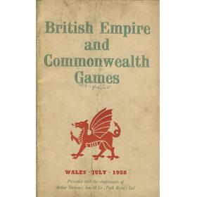 COMMONWEALTH GAMES WALES 1958 PROGRAMME