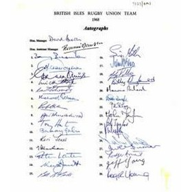 BRITISH LIONS TOUR TO SOUTH AFRICA 1968 AUTOGRAPH SHEET
