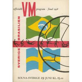 BRAZIL V SWEDEN 1958 (WORLD CUP FINAL) FOOTBALL PROGRAMME