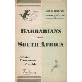 BARBARIANS V SOUTH AFRICA 1952