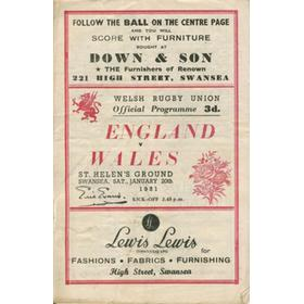 WALES V ENGLAND 1951 RUGBY PROGRAMME