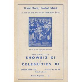 SHOWBIZ XI V CELEBRITIES XI 1959 FOOTBALL PROGRAMME (SID JUDD MEMORIAL MATCH)