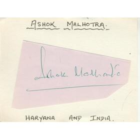 ASHOK MALHOTRA (INDIA) CRICKET AUTOGRAPH