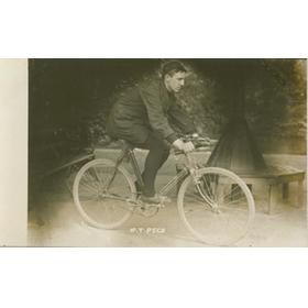 T PECK (BRITISH EMPIRE CHAMPION) CYCLING POSTCARD