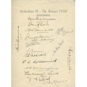 AUSTRALIAN TOUR OF ENGLAND 1938 (OFFICIAL TEAM SHEET)